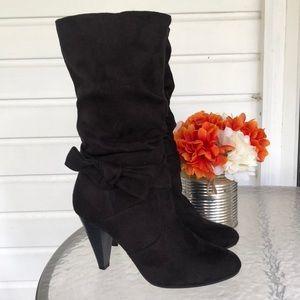 Black Apt. 9 suede high heel mid calf boots